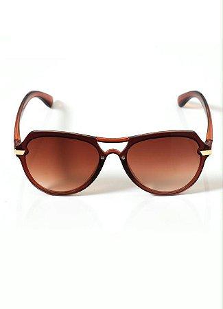 Óculos de Sol Aviador Geométrico Marrom