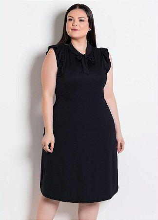 Vestido Preto Moda Evangélica com Gola Laço