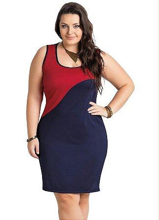 Vestido Reto Marinho E Vermelho