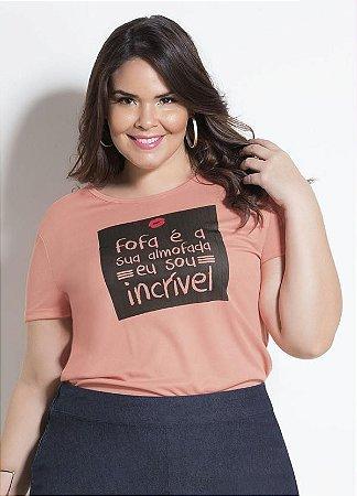 T-shirt Salmão Com Estampa Plus Size