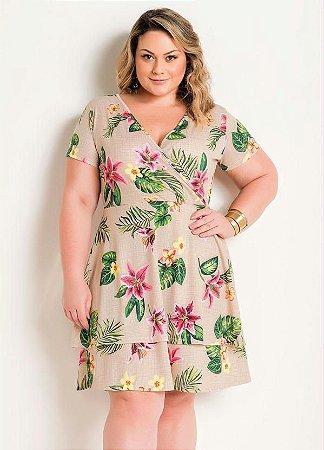 Vestido Transpassado Floral Plus Size Com Babado