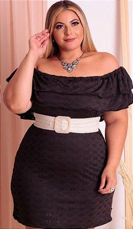 Vestido Plus Ciganinha com cinto preto