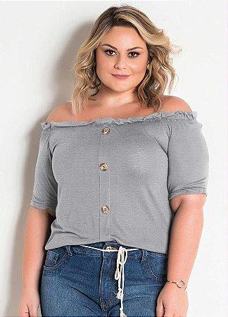 Blusa Ciganinha Plus Size Mescla Com Botões