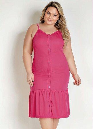 Vestido Midi Pink Com Fenda E Botões Plus Size