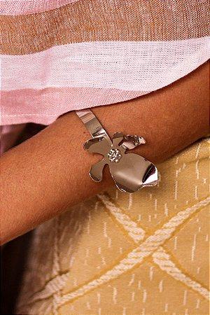 Bracelete floral niquel