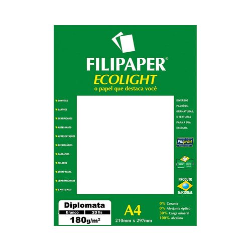 PAPEL FILIPAPER DIPLOMATA ECOLIGHT 180GRS BRANCO NATURAL || PCT C/20