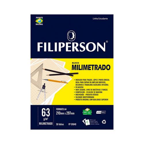 BLOCO ESC. MILIMETRADO A4 50FLS 63GRS R.1640    PCT C/5