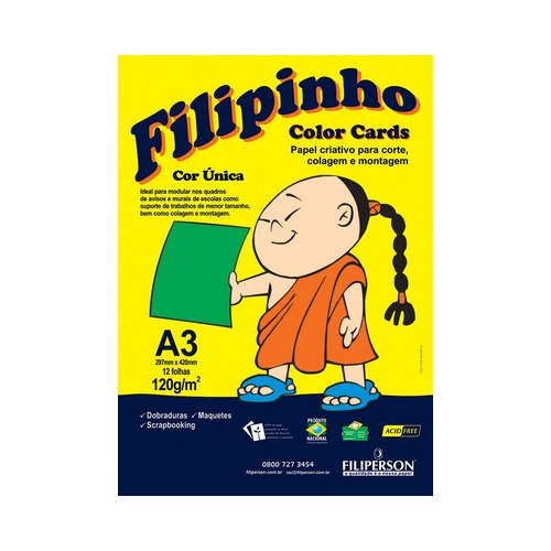 PAPEL FILIPINHO COLOR CARDS 12FLS A3 120GR VD R.01032 || PCT UNID