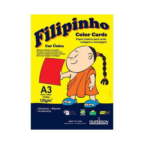 PAPEL FILIPINHO COLOR CARDS 12FLS A3 120GR VM R.01034 || PCT UNID