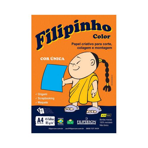 PAPEL FILIPINHO COLOR A4 85G AZUL 45FLS R.01045    PCT C/45