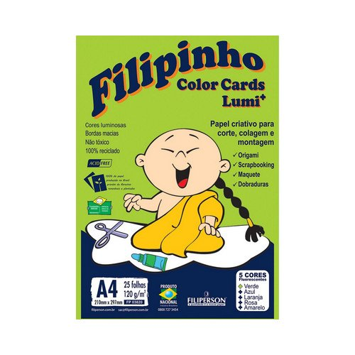 PAPEL FILIPINHO COLOR CARDS LUMI 25FLS A4 120GRS || PCT UNID
