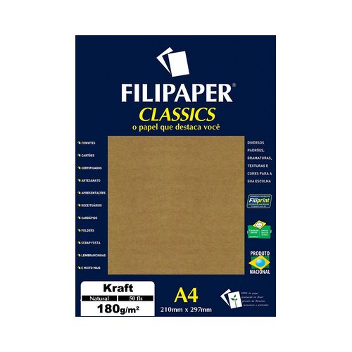 PAPEL FILICOLOR 180GRS A4 50FLS KRAFT NATURAL || PCT C/50