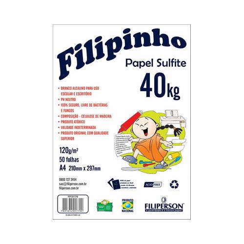 PAPEL FILIPINHO SULFITE 40K A4 120G BRANCO 50FLS R.1779 || IND UNID