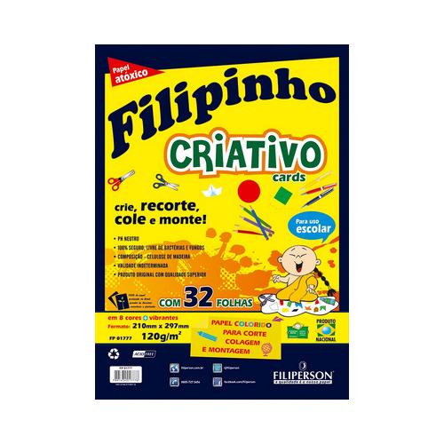 BLOCO FILIPINHO CRIATIVO A4 32FLS 120GRS C/8 CORES R.1777    UNIDADE