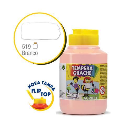 TEMPERA GUACHE 02023 250 ML 519 BRANCO || CAIXA C/3