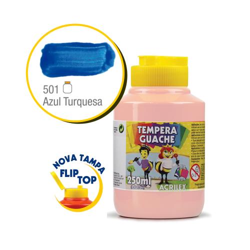 TEMPERA GUACHE 02023 250 ML 501 AZUL TURQUESA    CAIXA C/3