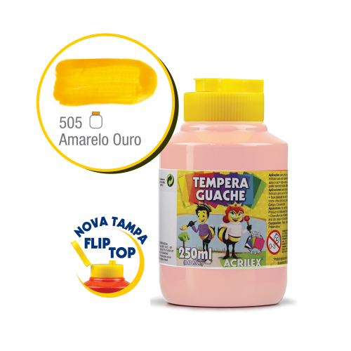TEMPERA GUACHE 02023 250 ML 505 AMARELO OURO || CAIXA C/3