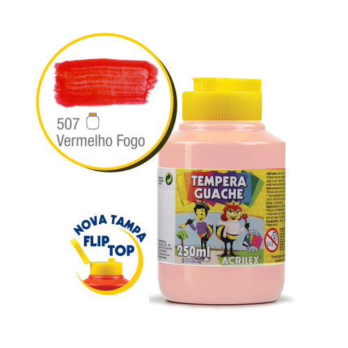 TEMPERA GUACHE 02023 250 ML 507 VERMELHO FOGO || CAIXA C/3