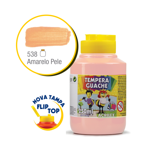 TEMPERA GUACHE 02023 250 ML 538 AMARELO PELE || CAIXA C/3