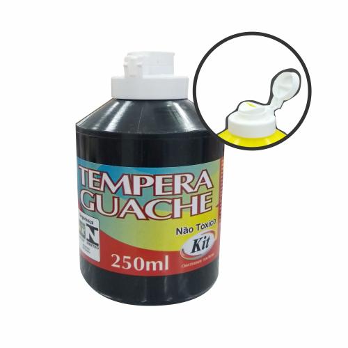 TEMPERA GUACHE 250ML KIT PRETO || CAIXA C/3