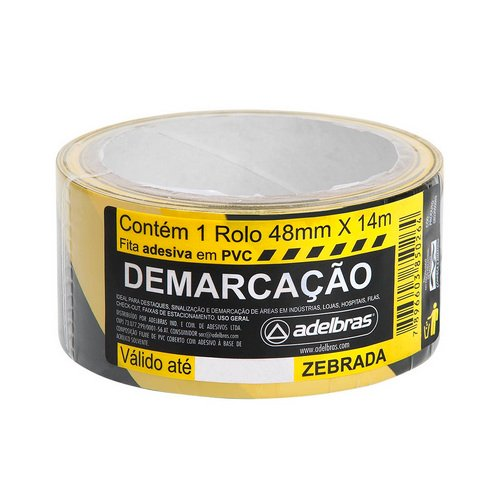 FITA DEMARCACAO DE SOLO 48X14 AMARELA/PRETA R.803050003 || IND UNID