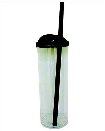 Copo Long Drink com Canudo 300ml - Preto com Transparente