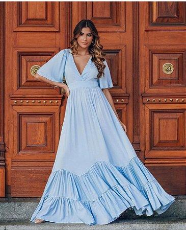 Vestido Longo Elisa  Azul