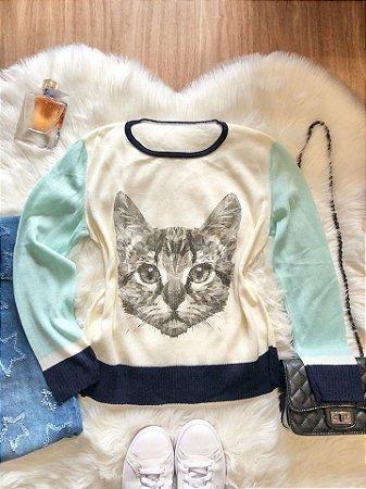 Blusa Pet Gato Zeus Azul