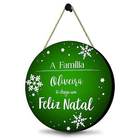 Guirlanda Natalina Verde - Personalizada com o nome da família MDF