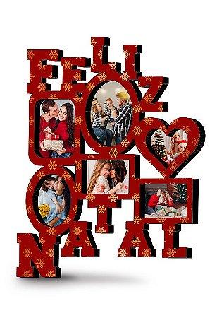 Painel de fotos Natalino Personalizado MDF (Vermelho)