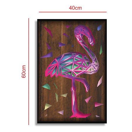 Quadro Flamingo Múltiplas Camadas para Decoração de Parede