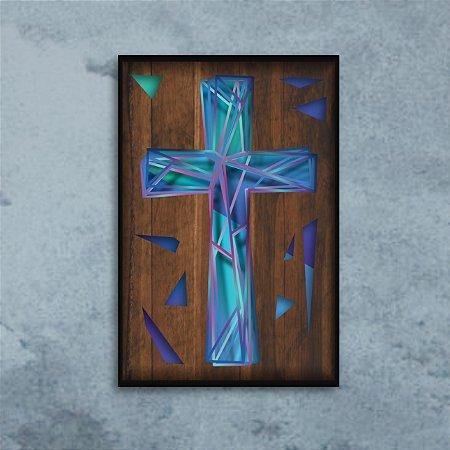 Quadro Cruz Múltiplas Camadas para Decoração de Parede