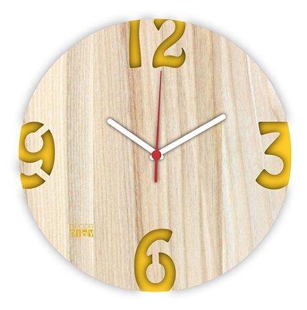 Relógio de Parede ColorClock Números AMARELO