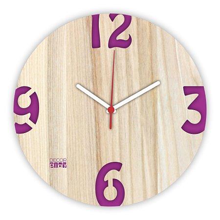 Relógio de Parede ColorClock Números ROXO