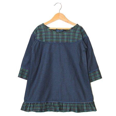 Vestido cordão - Helsinque - Azul com Colorido