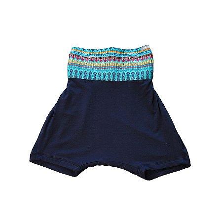 Shorts saruel - Solta . B - Marinho e azul étnico