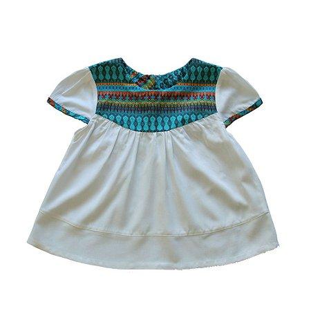 Bata Manguinha - Lovinac . A - Branco e azul étnico
