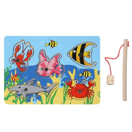 Pescaria magnética de madeira