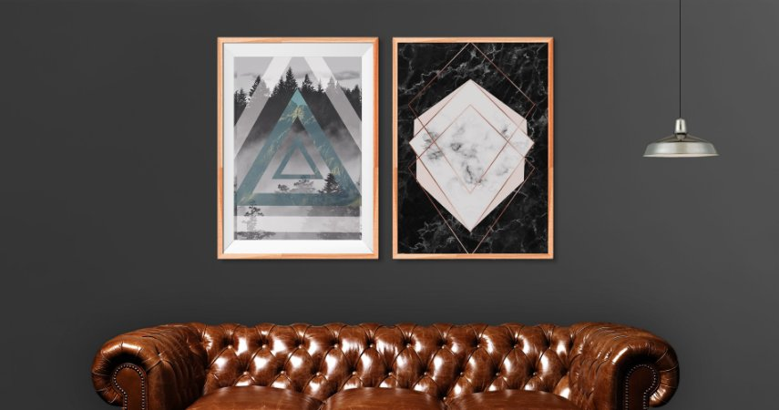 Kit 2 Quadros Decorativos Formas Geométricas Para Salas