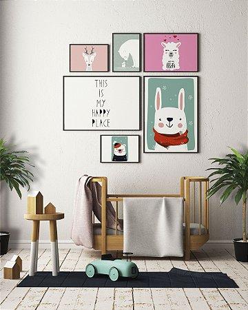 Kit 6 Quadros Decorativos Tamanhos Diversos Para Quartos Infantis Masculinos e Femininos