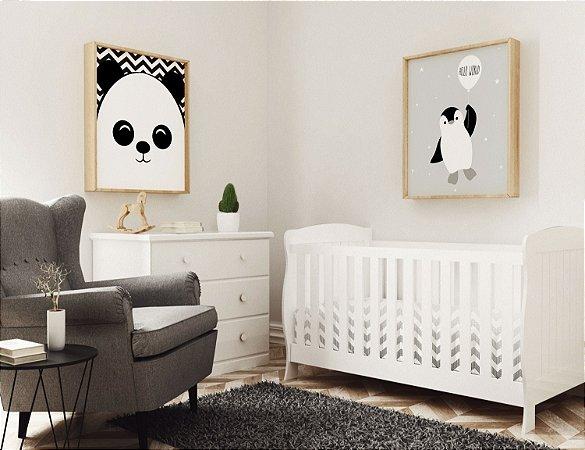 Kit 2 Quadros Para Quartos Infantis Animais Preto e Branco