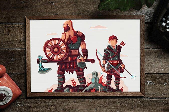 Quadro Decorativo Temático Games : God of War Kratos and Atreus