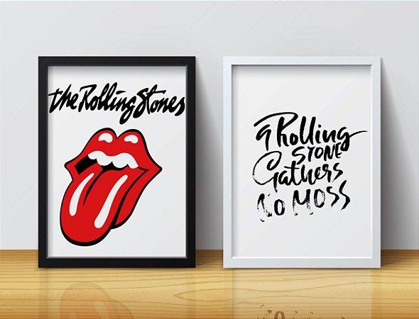 "Kit 2 Quadros Decorativos Temático Rock ""The Rolling Stones"""