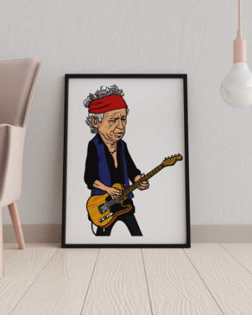 Quadro Decorativo Temático Musical Rock Caricatura Keith Richards - The Rolling Stones