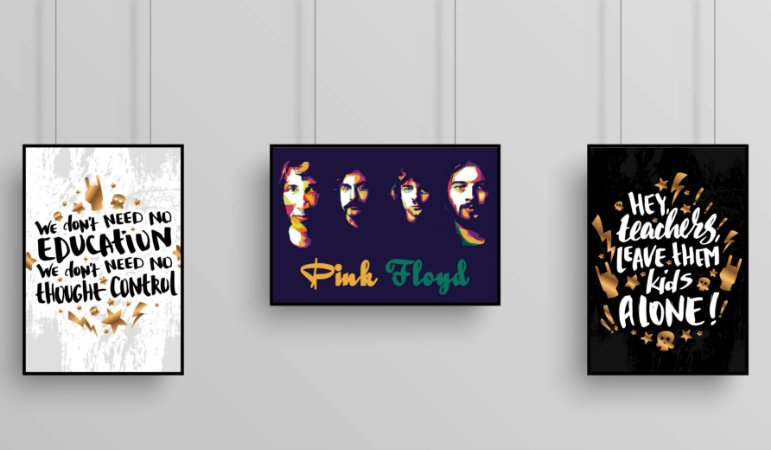 "Kit 3 Quadros Decorarativo Temático Musical ""Another Brick in the Wall"" - Pink Floyd"