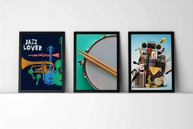 Kit 3 Quadros Decorativos Instrumentos Musicais