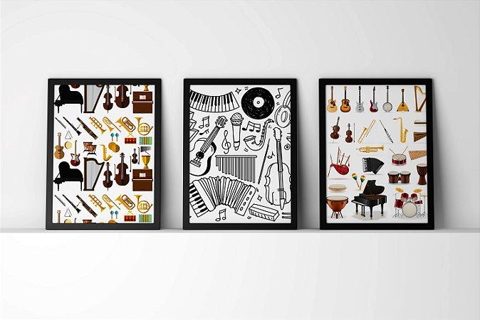 Kit 3 Quadros Decorativos Temáticos Figuras Instrumentos Musicais