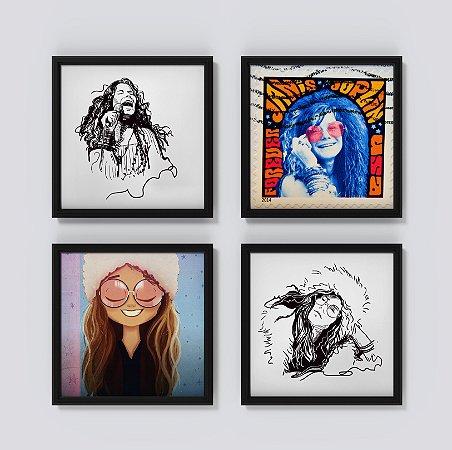 Kit 4 Quadros Decorativos Musicais Retratos Janis Joplin