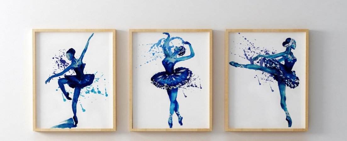 Kit 3 Quadros Decorativos Juvenil Blue Ballerinas