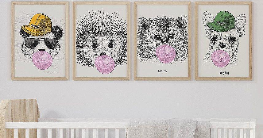 Kit 4 Quadros Infantis Animals Bubble Gum